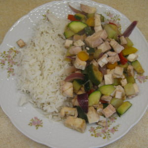 Šmakoun s restovanou zeleninou